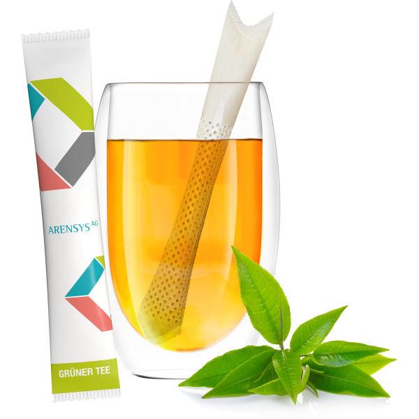 Bio TeaStick Grüner Tee Ingwer Zitrone aus Pflanzenfasern und Stärke als Mailingartikel nutzen