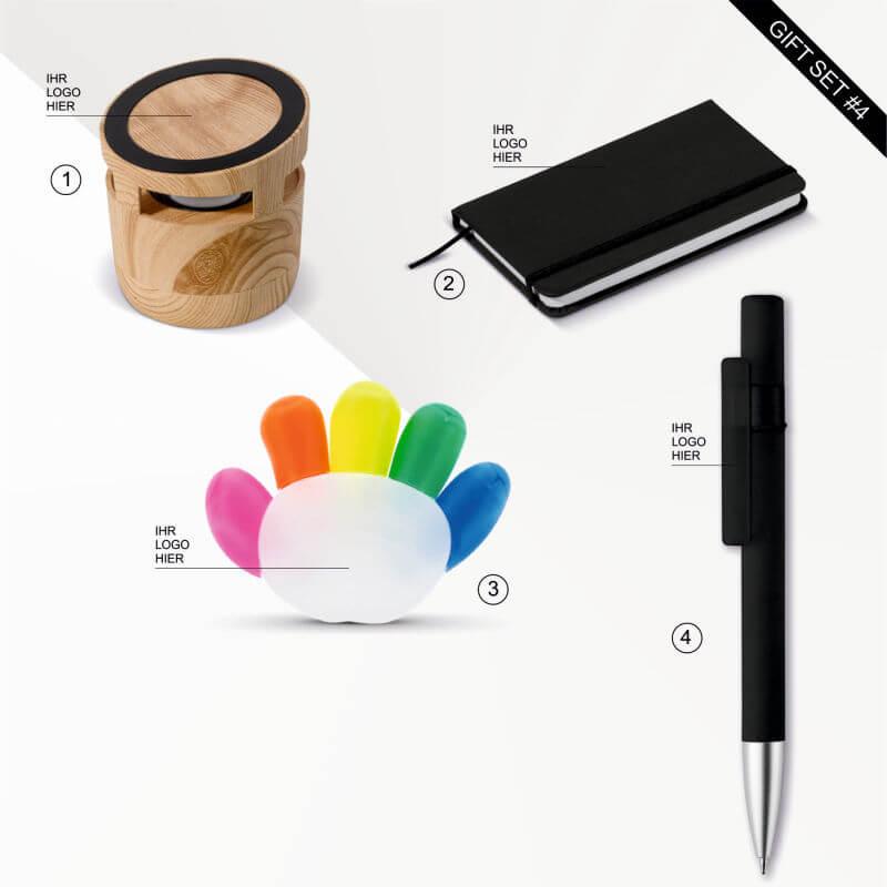 """Geschenk Set """"Work from home"""" für Kreative enthält einen Holz-Lautsprecher, ein praktisches Notizbuch sowie einen Kugelschreiber und ein Textmarker-Set. Ein kleines Danke für alle Mitarbeiter im Homeoffice in Zeiten von Corona."""