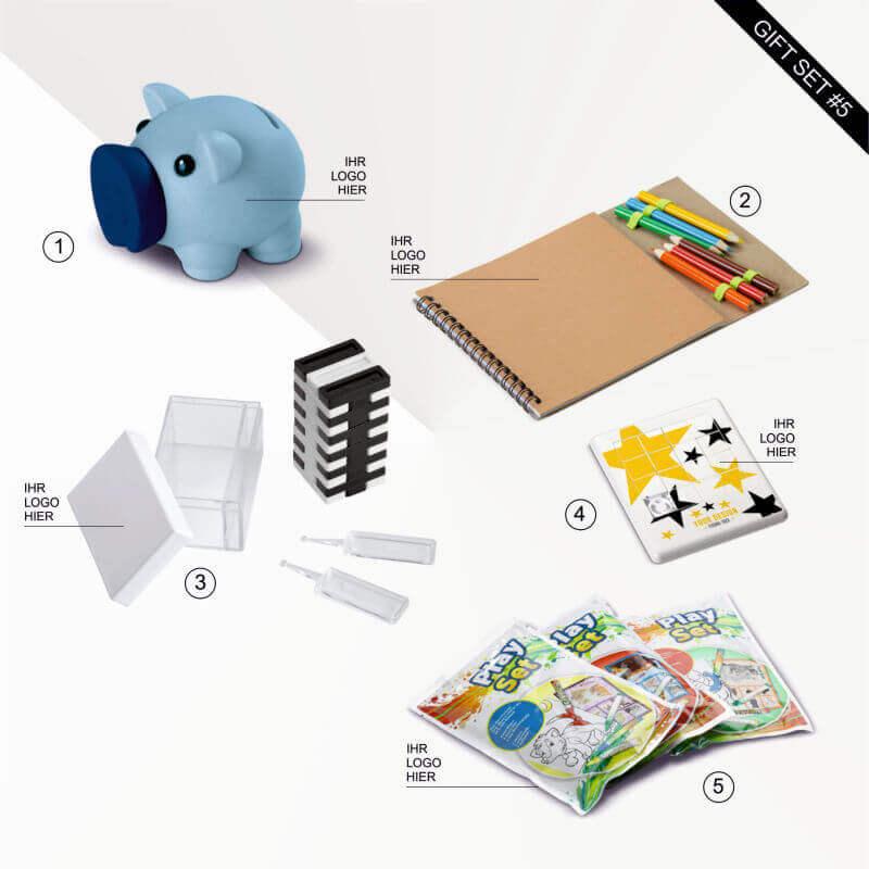 """Geschenk Set """"Work from home"""" für Kreative enthält ein Sparschwein, ein Zeichenset, ein spannendes Spiel, ein Schiebepuzzle und ein Wachs Spielset. Während Corona ein nützliches Geschenkset für alle Familien zuhause."""