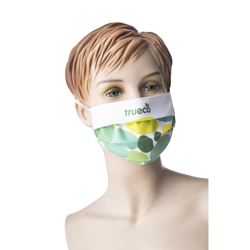 Auch diese Mund- und Nasenmaske kann durch einen personalisierten Digitaldruck mit Ihrem Logo veredelt werden.