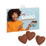 Herzenssache Schokopräsent mit Logo bedrucken und zum Valentinstag verschenken!